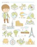 Geografia e viaggio, geografo Doodle dell'insegnante Fotografie Stock Libere da Diritti