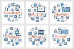 Geografia, historia, maths, języki i biologia, ilustracji