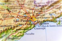 Geograficzna mapa Brazylia z kapitałowym Sao Pulo miastem obrazy royalty free