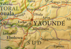 Geograficzna mapa Cameroon z stolicą Yaounde Obraz Royalty Free