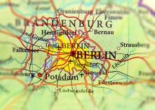Geograficzna mapa kraj europejski Niemcy z Berlińskim miastem zdjęcia stock