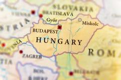 Geograficzna mapa kraj europejski Węgry z znacząco miastami fotografia stock
