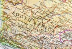 Geograficzna mapa Południowa Afryka z znacząco miastami Obrazy Royalty Free