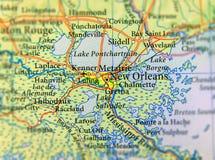 Geograficzna mapa stanu usa Luizjana i Nowy Orlean miasto zakończenie obrazy stock