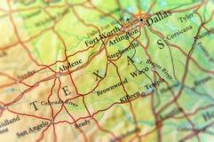 Geograficzna mapa stanu usa Teksas i Dallas miasto obraz stock