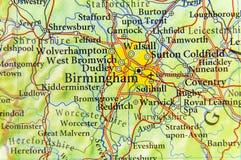 Geograficzna mapa UK z Birmingham miastem kraj europejski obrazy stock