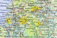 Geograficzna mapa UK z znacząco miastami kraj europejski Zdjęcia Royalty Free