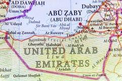 Geograficzna mapa Zlany arab Eirates z znacząco miastami zdjęcie royalty free