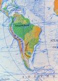 Geograficzny Ameryka Południowa mapy ulga Zdjęcia Royalty Free