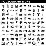 100 Geografieikonen eingestellt, einfache Art Stockfotografie