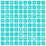 100 Geografieikonen stellten Schmutz blau ein Lizenzfreies Stockfoto