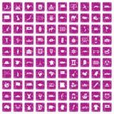 100 Geografieikonen stellten Schmutzrosa ein vektor abbildung