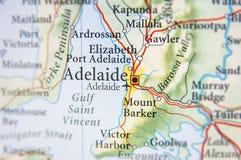 Geografische kaart van Australië met Adelaide stad Royalty-vrije Stock Afbeelding