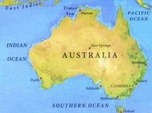 Geografische kaart van Australië met belangrijke steden Royalty-vrije Stock Fotografie