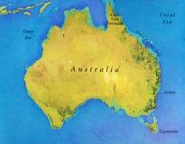 Geografische kaart van Australië met belangrijke steden Stock Afbeelding