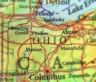 Geografische kaart van de staat Ohio van de V.S. en stad Columbus en de stad van Toledo stock foto's
