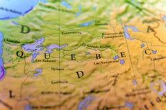 Geografische kaart van de staat Quebec van Canada met belangrijke steden Stock Foto's
