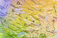 Geografische kaart van de staat Quebec van Canada met belangrijke steden Royalty-vrije Stock Foto