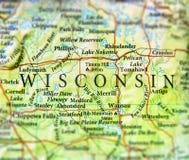 Geografische kaart van de staat Wisconsin van de V.S. met belangrijke steden stock afbeeldingen