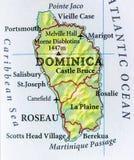 Geografische kaart van Dominica land met belangrijke steden Royalty-vrije Stock Afbeeldingen