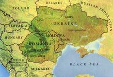 Geografische kaart van Europees land de Oekraïne, Moldavië en Roemenië Stock Fotografie