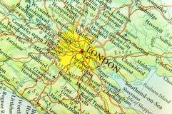 Geografische kaart van Europees land het UK met de hoofdstad van Londen Royalty-vrije Stock Foto