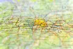 Geografische kaart van Europees land het UK met de stad van Birmingham royalty-vrije stock afbeelding