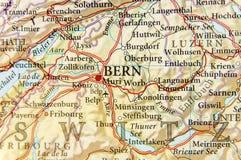 Geografische kaart van Europees land Zwitserland met de hoofdstad van Bern Stock Fotografie