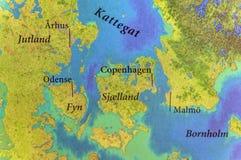 Geografische kaart van Europees Skandinavisch dicht deel stock fotografie