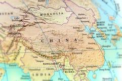 Geografische kaart van het land van China met belangrijke steden stock afbeeldingen