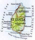 Geografische kaart van St Lucia IJsland land met belangrijke steden royalty-vrije stock foto