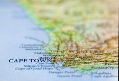 Geografische kaart van Zuid-Afrika met hoofdstad Cape Town Stock Foto's