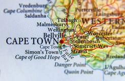 Geografische kaart van Zuid-Afrika met hoofdstad Cape Town Royalty-vrije Stock Fotografie