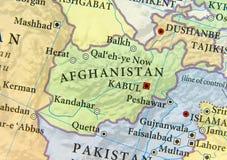 Geografisk översikt av Afghanistan med viktiga städer Royaltyfri Bild