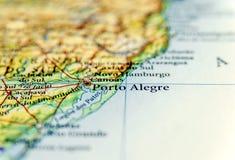 Geografisk översikt av Brasilien med den Porto Alegre staden Arkivbilder