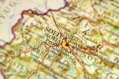 Geografisk översikt av Bulgarien för europeiskt land med den Sofia staden arkivbild