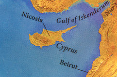 Geografisk översikt av den Grekland för europeiskt land ön Cypern arkivfoton