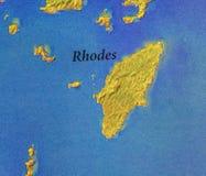 Geografisk översikt av den Grekland för europeiskt land ön Rhodes arkivbild