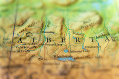 Geografisk översikt av den Kanada staten Alberta med viktiga städer Royaltyfri Bild
