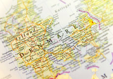 Geografisk översikt av det europeiska landet Danmark med viktiga städer arkivfoto