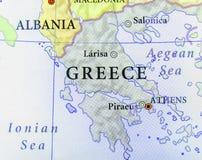 Geografisk översikt av det europeiska landet Grekland med viktiga städer royaltyfri bild