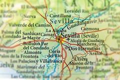 Geografisk översikt av det europeiska landet Spanien med den Sevilla staden Royaltyfri Bild