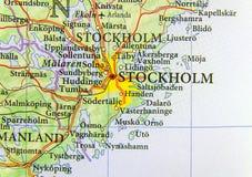 Geografisk översikt av det europeiska landet Sverige med huvudstaden Stockholm royaltyfria bilder