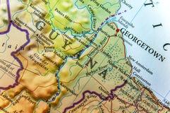 Geografisk översikt av det Guyana landet med viktiga städer Arkivfoton