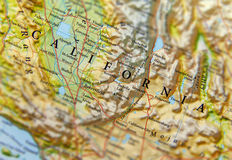 Geografisk översikt av det Kalifornien statslutet Royaltyfri Bild