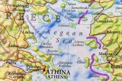 Geografisk översikt av för Grekland för europeiskt land Aten stad och det Aegan havet royaltyfri foto