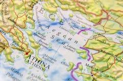 Geografisk översikt av för Grekland för europeiskt land Aten stad och det Aegan havet royaltyfria foton