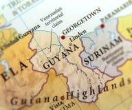 Geografisk översikt av Guyana länder med viktiga städer royaltyfri foto