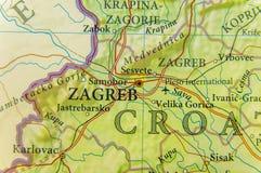 Geografisk översikt av Kroatien för europeiskt land med den Zagreb staden arkivfoto