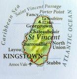 Geografisk översikt av landet för St Vincent med viktiga städer Arkivfoton